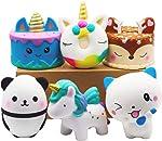 YOAUSHY 6 Pcs Squishies Toy Jumbo Slow Rising Unicorn Horse,Cake,Unicorn Donut,Panda,Spoon