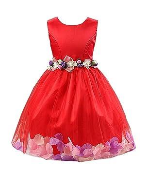 Katara 1710 – Vestido de fiesta para niña con falda de tul y decoración de flores