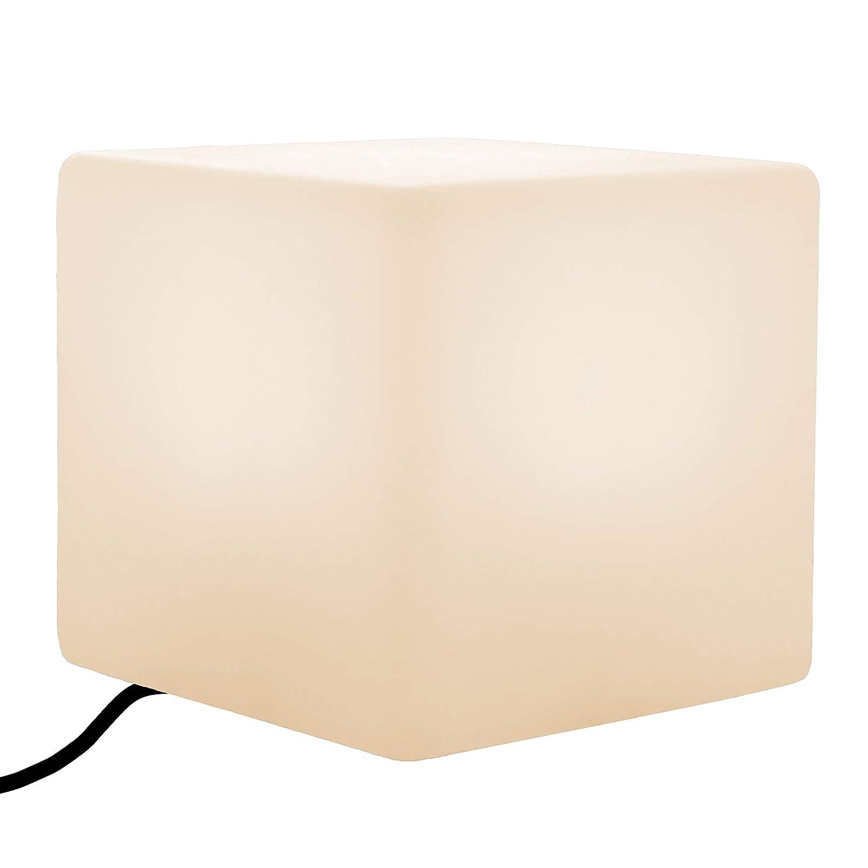 PK Grün Erstklassige LED Tischlampe Würfel 30x30 cm   Glühbirne E27 Warmweiß Installiert   Tischleuchte Nachtlampe Modern für Wohnzimmer, Schlafzimmer   Dekoleuchte Leuchtwürfel Effektlampe Design