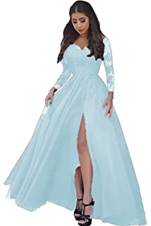 32e60cf232 Women Sexy Lace Appliques Prom Dresses 2019 Long Sleeves High Slit Evening  Ball Gown