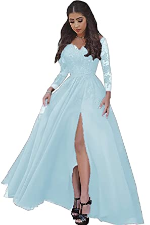 1ff4f47a37 Women Sexy High Slit Lace Tulle Prom Dresses Formal Ball Gown 2019 with Long  Sleeves Baby