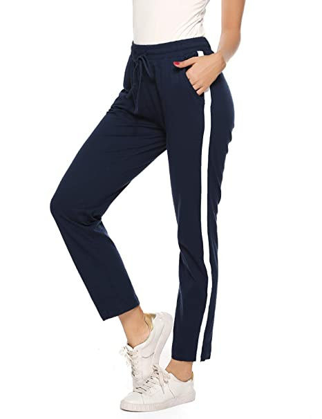 Aibrou 100% Algodón Pantalones Deportivos para Mujer Pantalones de Pijama Largos Primavera Verano Pantalón de Chándal con Bolsilpara Gimnasio Deportes ...