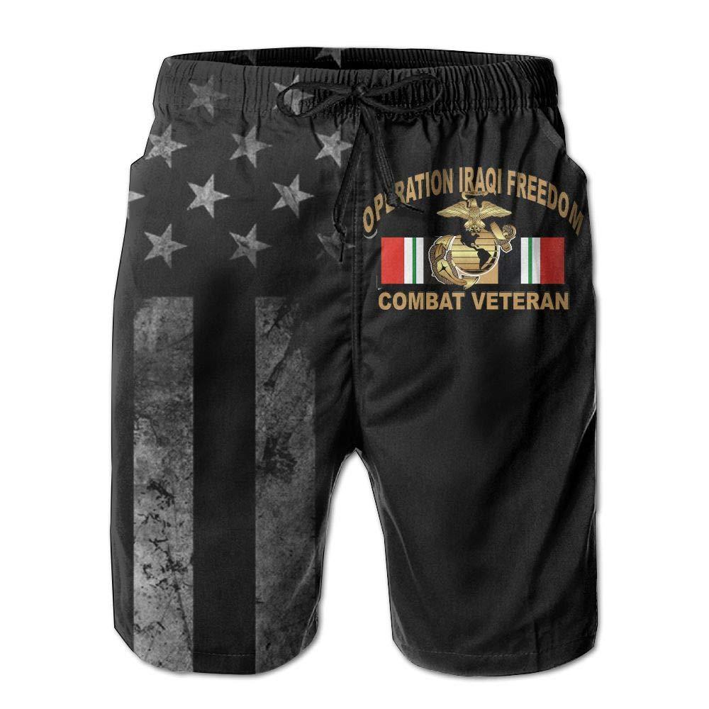 HANINPZ Operation Iraqi Freedom OIF Marine Corps EGA Veteran with American Flag Mens Swim Trunks Beach Short Board Shorts