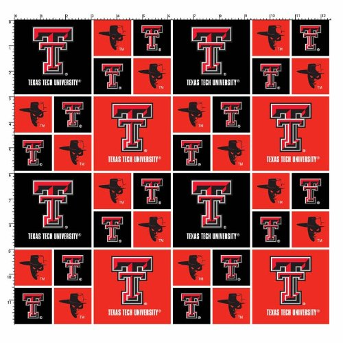 Collegiate Cotton Broadcloth Texas Tech University Red Raider Fabric By The Yard
