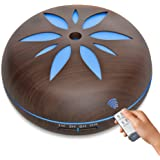 Aroma Diffuser - 550 ML with Remote Control Essential Oil Ultrasonic Aromatherapy Humidifier Wood Grain Cool Mist, 7 Color LED lights, Timer Settings, Auto Shut-off Whisper Quiet (Dark)