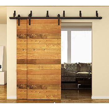 Winsoon 10ft bypass barn door hardware sliding kit 4 16ft for interior exterior cabinet closet for Exterior bypass barn door hardware