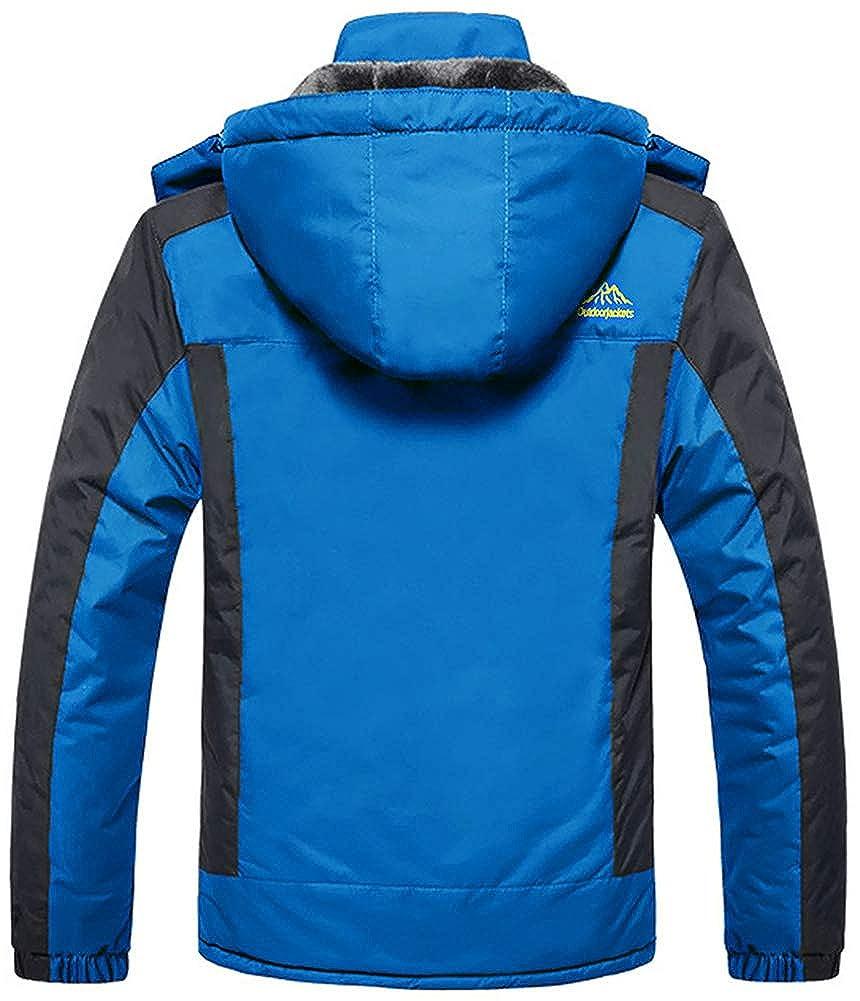 TACVASEN Uomo Giacca Sci Pile Fodera Giacche Invernali Escursionismo Giacca Impermeabile Vento Montagna Cappotti Caldi con Cappuccio Staccabile