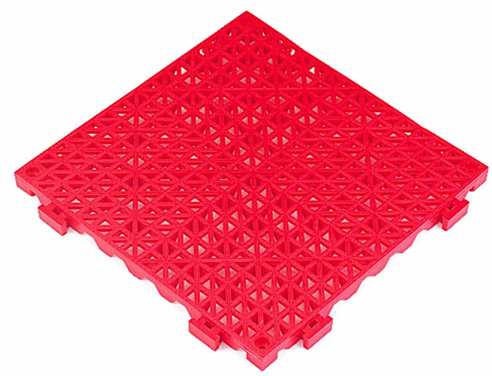Red 12 x 12 12 x 12 Durable Corporation 803S1212RD Modular Cushion Tile with Drainage Holes