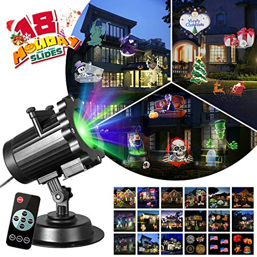 Zeonetak All Year Holiday Projector Light 18 Patterns Interchangeable Led Christmas Lights Valentine's Day Birthday Party Independence Day Decoration(10-15ft Projection Distance -