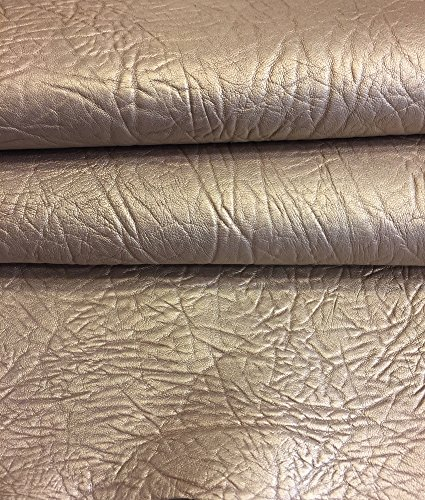 Craft Real Leather Hide - Top Quality Lambskin - Dark Champagne Color - 4 sq ft - AVG 24¨x 22¨ - Pearlescent Finish - Spanish Full Skins - Soft Thin Upholstery Fabric - Home Décor Material