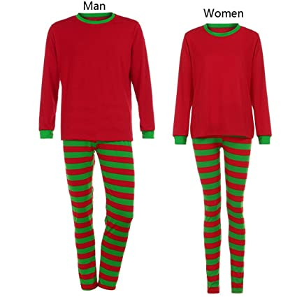 nacome couple lover family matching christmas pajamas blouse santa striped pants set man