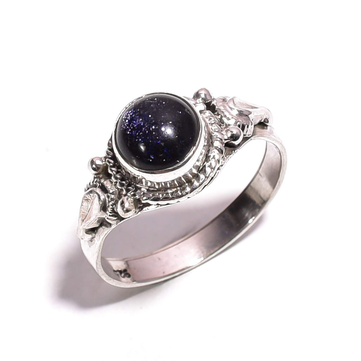 ZR-688 mughal gems /& jewellery 925 Sterling Silver Ring Natural Blue Sandstone Gemstone Fine Jewelry Ring for Women /& Girls 6.75 US Size
