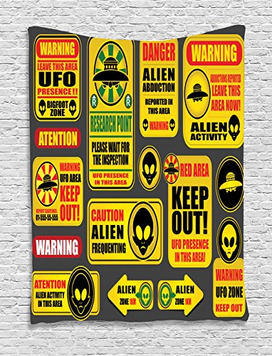 Outer Space Decor Tapestry by Ambesonne, Warning Ufo Signs with Alien Faces Heads Galactic Paranormal Activity Design, Wall Hanging for Bedroom Living Room Dorm, 60WX80L Inches, Yellow by Ambesonne