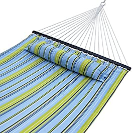ZENY New Portable Cotton Hammock Quilted Fabric with Pillow Double Size Spreader Bar Heavy Duty Outdoor Camping w/Detachable Pillow, Suitable for 12FT Hammock Stand