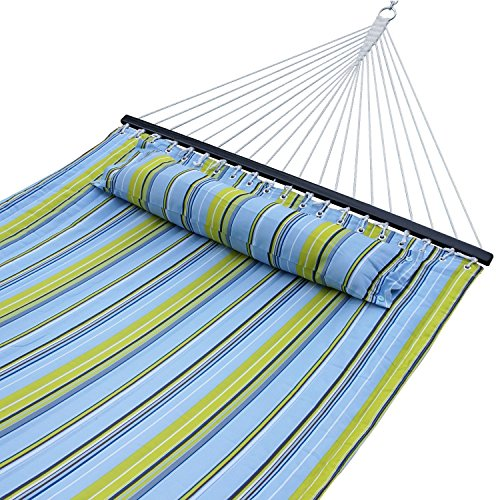 - ZENY New Portable Cotton Hammock Quilted Fabric with Pillow Double Size Spreader Bar Heavy Duty Outdoor Camping w/Detachable Pillow, Suitable for 12FT Hammock Stand