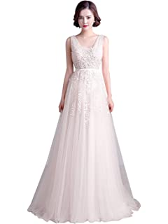 ... Gown… 4.4 out of 5 stars 78 ·  104.00 · Babyonline Women s Double V-Neck  Tulle Appliques Long Evening Cocktail Gowns e90aff939f30