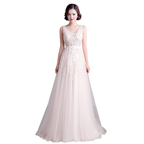 Misshow Womens Double V-Neck Tulle Appliques Long Evening Cocktail Gowns