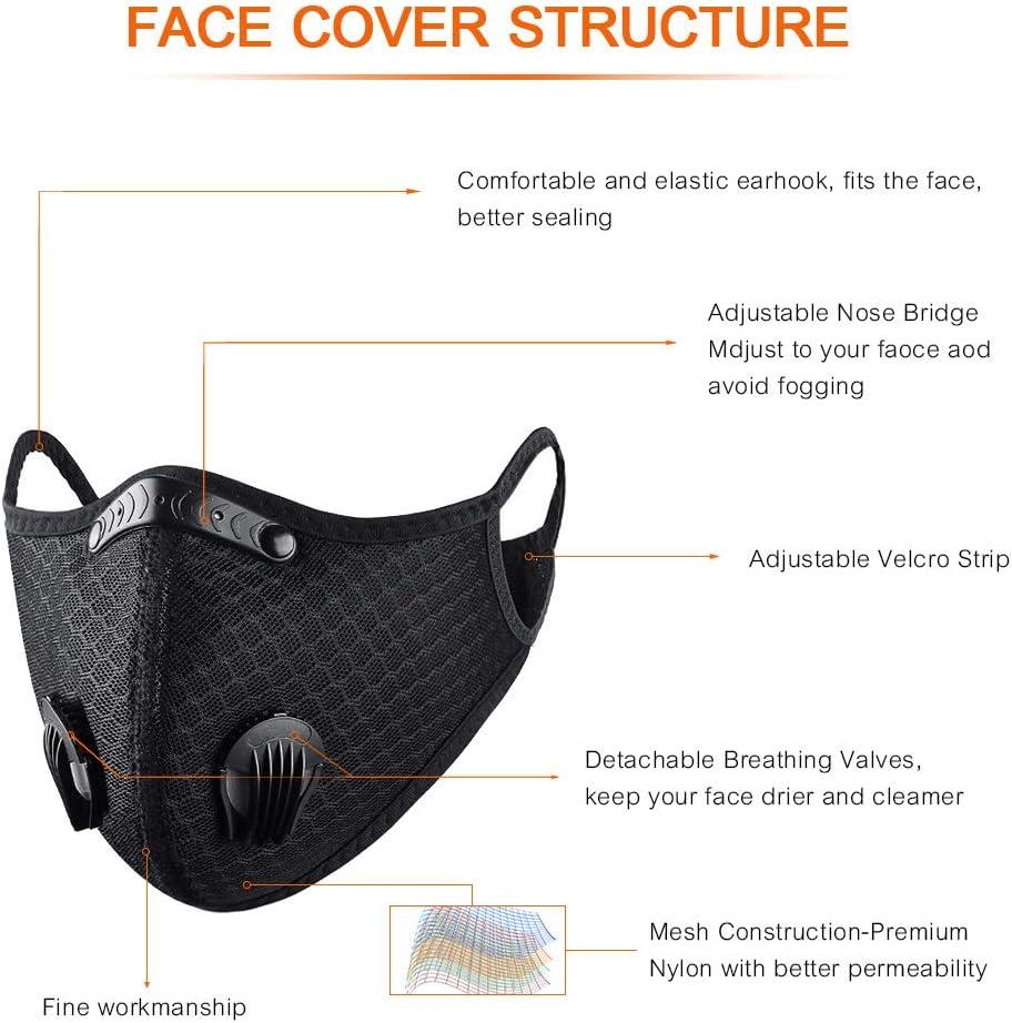 Protezione Sportiva Antipolvere con Filtro a Carbone Attivo Ciclismo 1-PACK