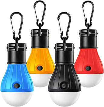 Camping Lights, Tent Lights with Carabiner Clips Waterproof Portable Battery Operated Emergency Tent LED Light Bulb Lamp Lantern for Outside Camping