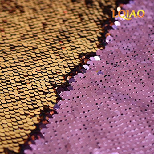 4x6ft(125x180cm)Mermaid Sequin Fabric Backdrop Pink Gold Reversible Sequin Fabric Two Tone Flip Up Magic Shape Shimmer Sequin Photography Backdrop for Wedding/Party Decoraiton