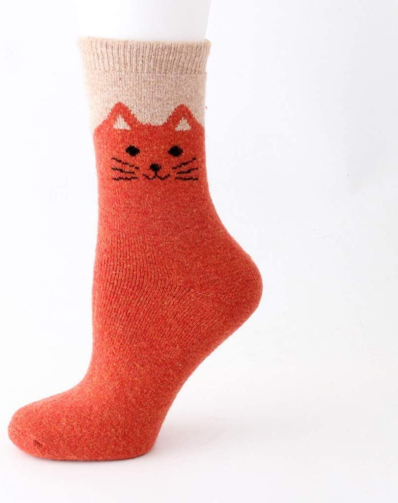 Gaowen Women Mix Cotton Socks Animal Lovely Cat Print Fleece Winter Stability No Show Slouchy Stocking