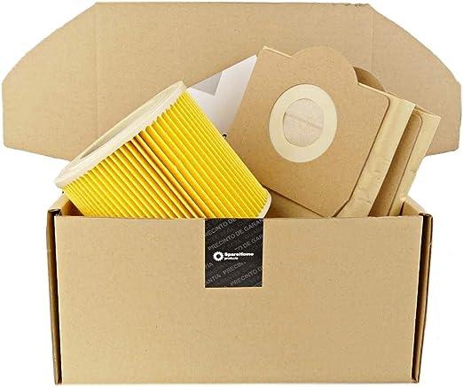 ReleMat SpareHome® - 3 Bolsas de filtración Superior + 1 Filtro para Aspirador Karcher WD 3, WD 3 Premium, MV3, 6.959-130.0 - 6.414 – 552.0/64145520: Amazon.es: Hogar