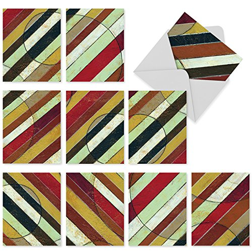 M3028 Zigzag: 10 Assorted Thank You Notecards Featuring Colorful Diagonal Striped Patterns, w/White Envelopes - Fold Over Cards