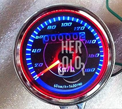 Classic Motorcycle double LED Kilom/étrage vitesse Speedo Indicateur jauge 60mm