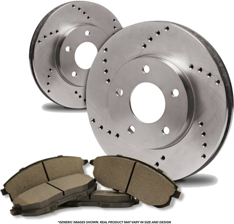 2 Cross-Drilled Disc Brake Rotors Fits:- 5lug Front Kit 4 Semi-Metallic Pads High-End