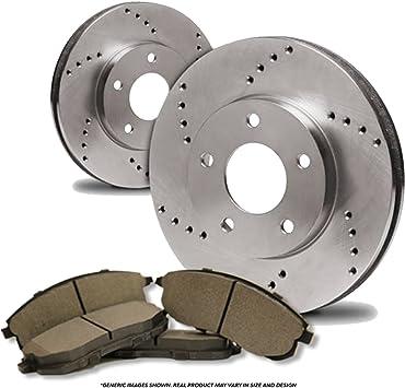 2 Cross-Drilled Disc Brake Rotors Rear Kit High-End 4 Semi-Metallic Pads Fits:- 5lug