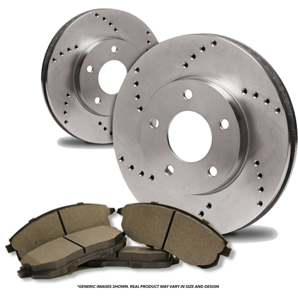 (Front Kit)(High-End) 2 Cross-Drilled Disc Brake Rotors + 4 Semi-Metallic Pads(Dodge)(8lug) frautoparts