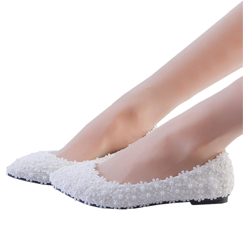 422f83f4e7e7 cheap Flats White Pearl Lace Wedding Shoes Bridal Bridesmaid Shoes Flats