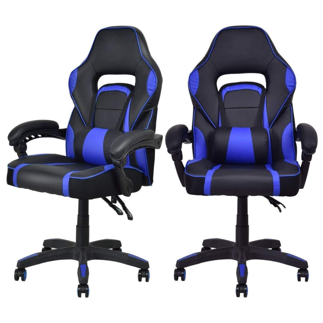 Modern Racing Style Gaming Chairs Thick Padded Seat PU Leather Upholstery Adjustable Recline Design Chair with Waist Pillow Home Office Furniture Decor - Set of 2 Blue #2115 by KLS14
