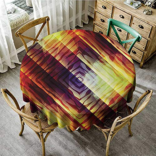 - familytaste Tabletop Cloth Round Modern Decor,Tiger Stripes in Rectengular Forms Rainbow Like Colored Beams Design Image,Multicolor D 54