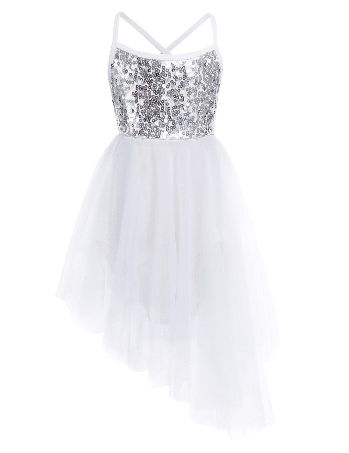 iiniim Kids Girls' Sleeveless Sequined Ballet Leotard Outfit Dance Tutu Dress, Hi-lo Silver White, 7-8
