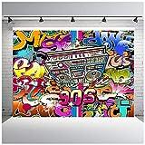 Nextunit 7x5ft 90th Graffiti Photography Backdrop Vinyl Hip Hop Photo Studio Background Photographic Party Decorations