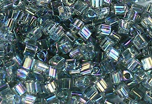 11/0 Triangle TOHO Japanese Glass Seed Beads #176- Transparent-Rainbow Black Diamond 15g