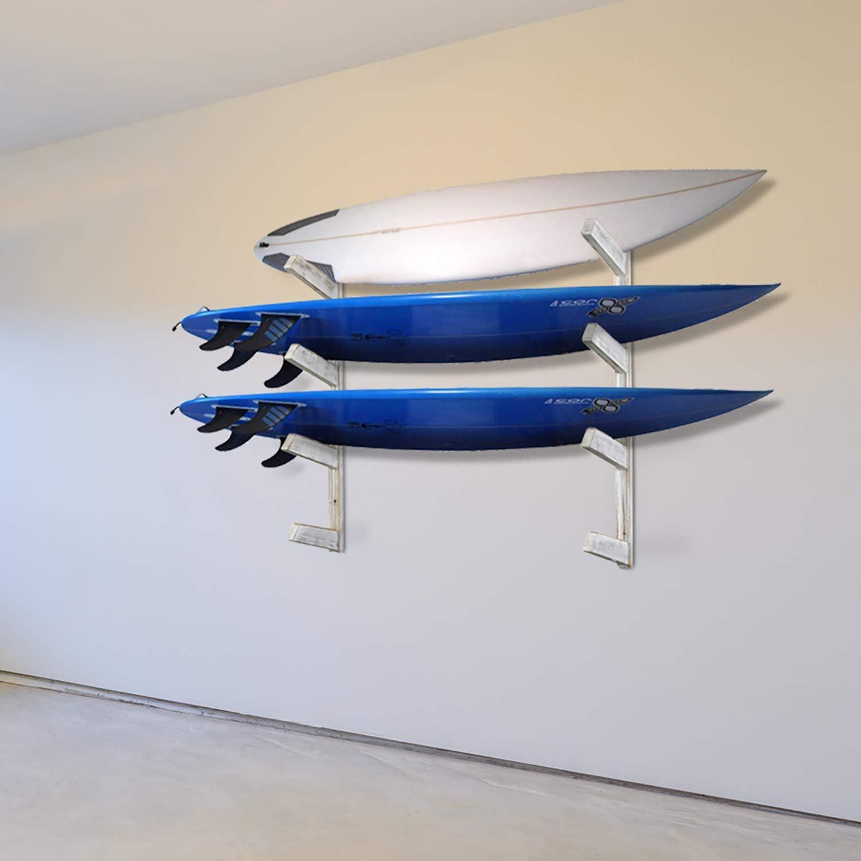 MyGift Shabby Whitewashed Wood Home Garage Wall Mounted Surfboard//Longboard//Stand Up Paddle Board Storage Horizontal Display Organizer Rack