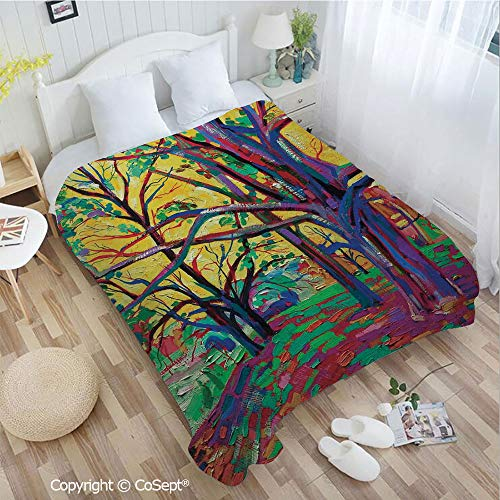 PUTIEN Luxury Flannel Blanket,Mod Funk Art Style Painting of a Colorful Forest in The Spring Time Nature Earth Boho,fit Couch Sofa Suitable for All Season(72.83
