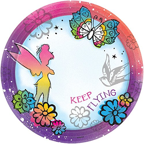 Disney Tinker Bell - Keep Flying Dessert Plates Birthday Party Disposable Tableware and Dishware (8 Pack), Multi Color, (Tinkerbell Standard Costume)