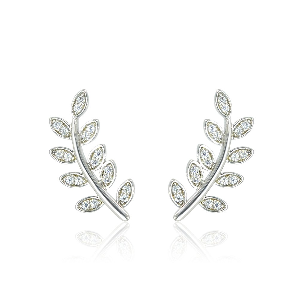Delicate Leaf Ear Climbers Crawlers Stud Earrings White Gold Plated