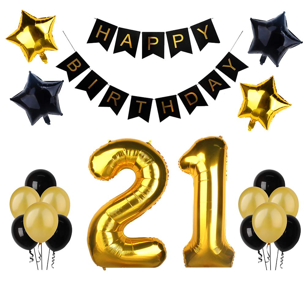 21st Birthday Party Decorations, Happy Birthday Banner with