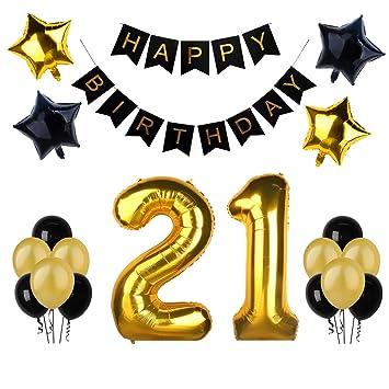 21.o kit de decoraciones de la fiesta de cumpleaños, Bandera del Feliz Cumpleaños, 21.ª Globos de Número de Oro, Globos de estrellas de látex, ...