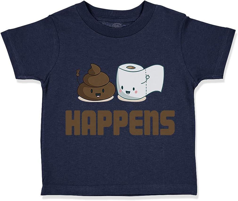 Custom Toddler T-Shirt Poop Happens Funny Humor Cotton Boy /& Girl Clothes