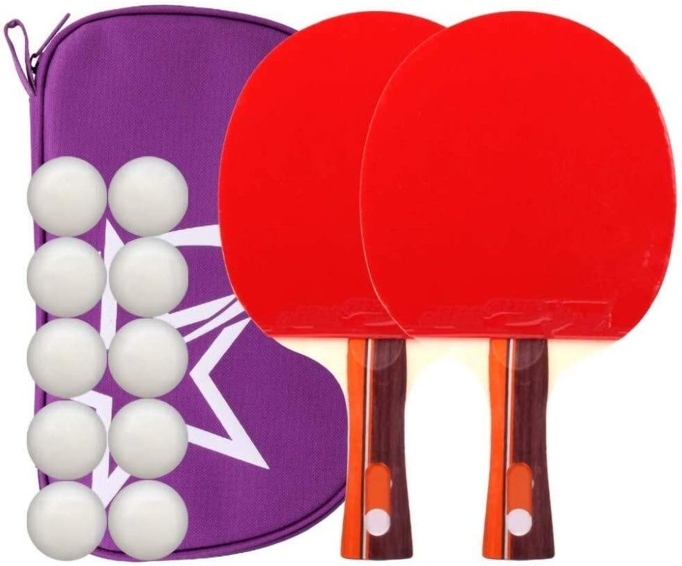 Jilisay Los murciélagos Lerten Dos Estrellas de Tenis de Mesa de Ping-Pong, Raqueta, de 7 Capas de Madera Pura de Doble Cara Antiadherente, Ideal for Principiantes/como se Muestra/Mango Largo