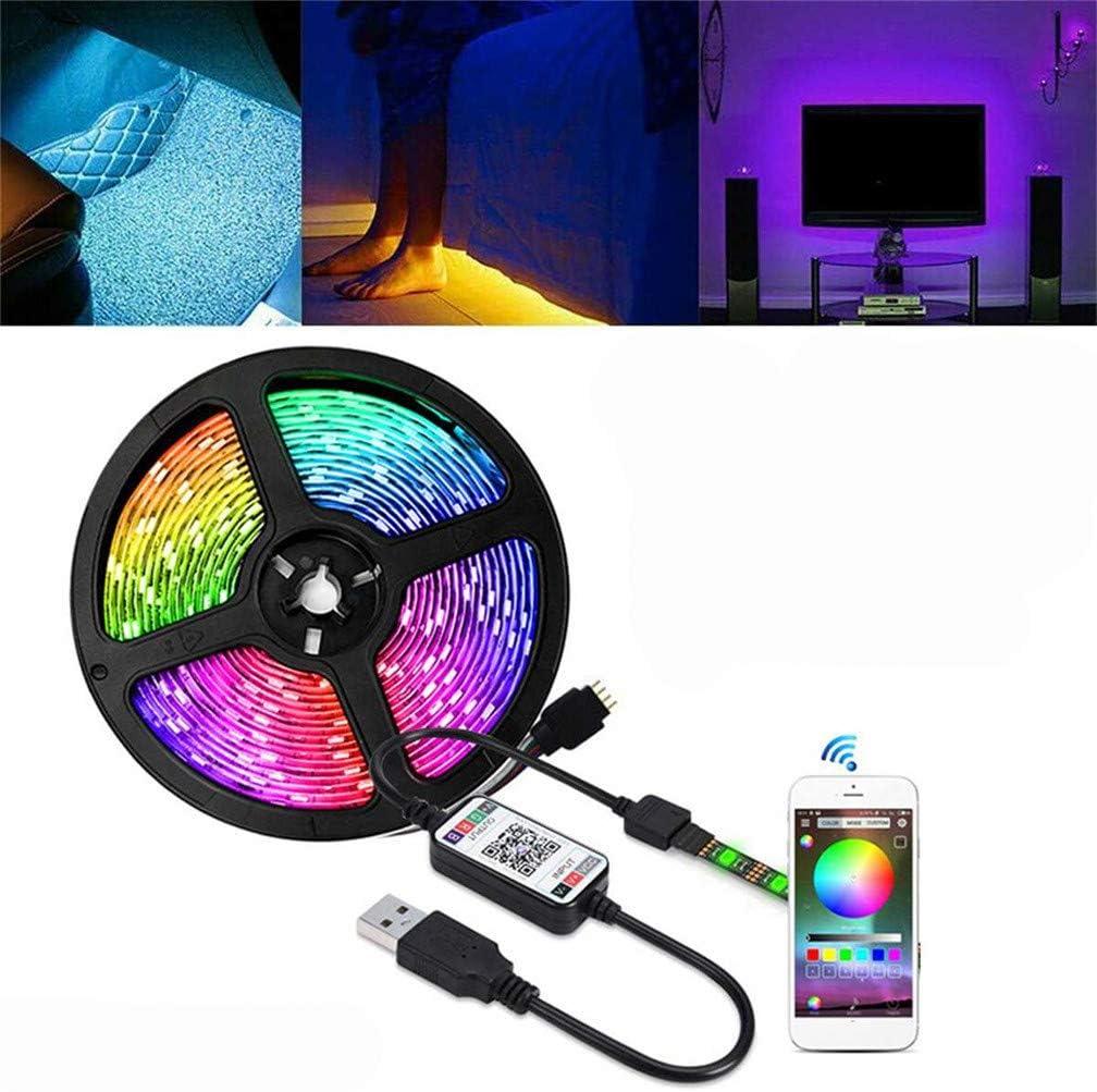5V USB LED Strip Lights TV Back Light 5050 RGB Color Change Bluetooth Control