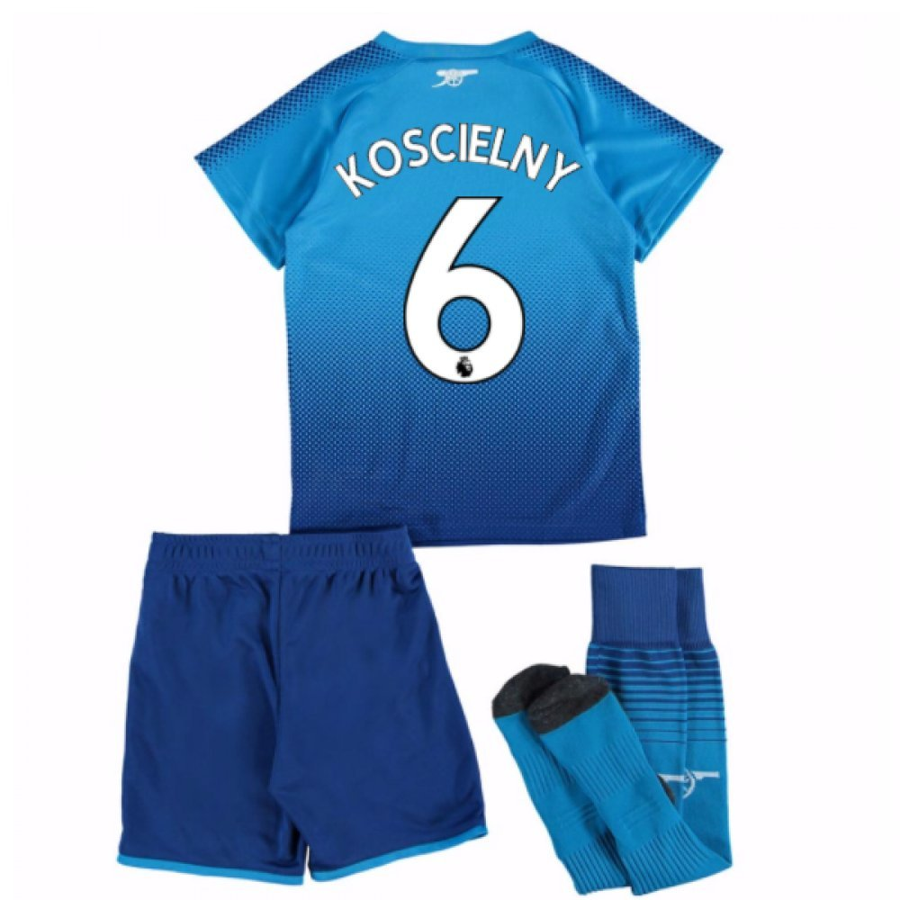 UKSoccershop 2017-18 Arsenal Away Mini Kit (Laurent Koscielny 6)