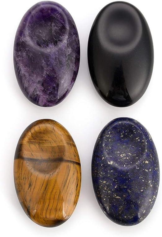 Oval Gemstone Palm Thumb Worry Stone Pocket Crystal Quartz Healing Massaging