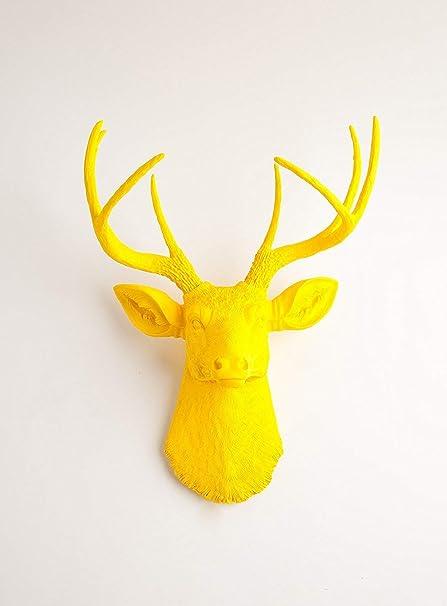 The Pablo  Resin Deer Head   Yellow Deer Head Wall Decor   Stag Head ...