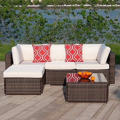 Polar Aurora 5pcs Patio Furniture Set PE Rattan Wicker Sectional Sofa Outside Couch Conversation Set w/Washable Seat Cushions Modern Glass Coffee Table-Beige